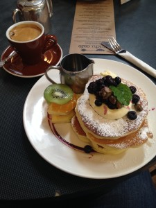 Blueberry & blackberry pancakes with lemon vanilla bean mascarpone and candied pistachios!