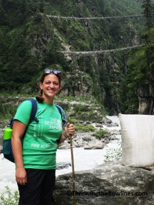 View of the final suspension bridge (with the old one below) on the way to Namche
